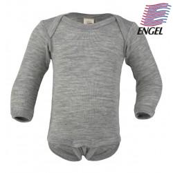 ENGEL - Bio Baby Body langarm, Wolle/Seide, hellgrau