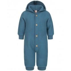 ENGEL - Bio Baby Fleece Overall mit Kapuze, Wolle, atlantik