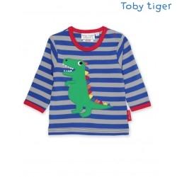 Toby tiger - Bio Kinder Langarmshirt mit T-Rex-Dino-Applikation und Streifen