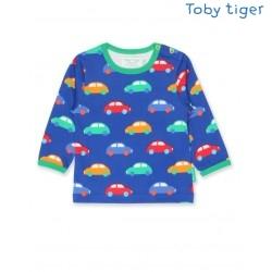 Toby tiger - Bio Baby Langarmshirt mit Auto-Allover