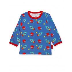 Toby tiger - Bio Baby Langarmshirt mit Raketen-Allover