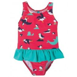 """frugi - Baby Badeanzug """"Little Coral"""" mit Papageientaucher-Motiv, UPF 50+"""