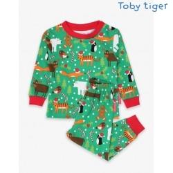 Toby tiger - Bio Kinder Schlafanzug mit Weihnachts-Motiv