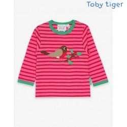 Toby tiger - Bio Baby Langarmshirt mit Rotkehlchen-Applikation und Streifen
