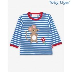 Toby tiger - Bio Baby Langarmshirt mit Maus-Applikation und Streifen