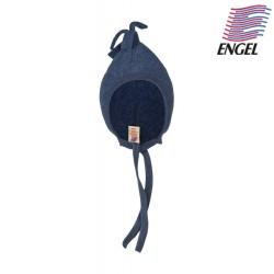 ENGEL - Bio Baby Fleece Mütze mit Puschel, Wolle, blau