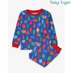 Toby tiger - Bio Kinder Schlafanzug mit Bären-Allover