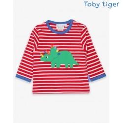 Toby tiger - Bio Kinder Langarmshirt mit Triceratops -Dino-Applikation und Streifen