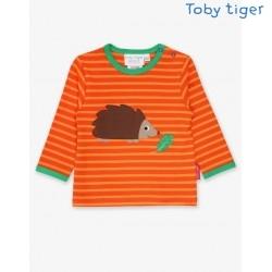Toby tiger - Bio Baby Langarmshirt mit Igel-Applikation und Streifen