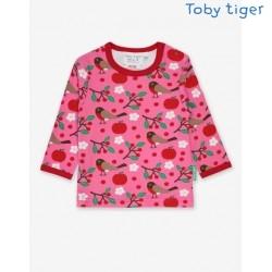 Toby tiger - Bio Baby Langarmshirt mit Rotkehlchen-Allover