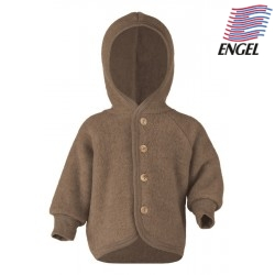 ENGEL - Bio Baby Fleece Jacke mit Kapuze, Wolle, walnuss