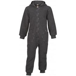 ENGEL - Bio Baby Walk Overall mit Kapuze und Reißverschluss, Wolle, grau