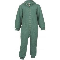 ENGEL - Bio Baby Walk Overall mit Kapuze und Reißverschluss, Wolle, jade