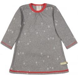 loud + proud - Bio Kinder Jersey Kleid mit Schneeflocken-Allover, grau