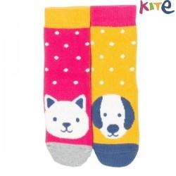 """kite kids - Bio Baby Stopper Socken mit Tier-Motiven """"Katze und Hund"""" 2er Pack"""