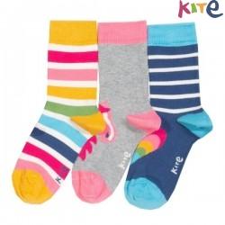 kite kids - Bio Kinder Strümpfe 3er Pack mit Herzen/Streifen/Pony-Motiv