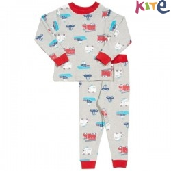kite kids - Bio Kinder Schlafanzug mit Rettungsfahrzeugen-Allover