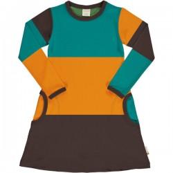 Maxomorra - Bio Kinder Jersey Kleid mit Blockstreifen, Lagoon