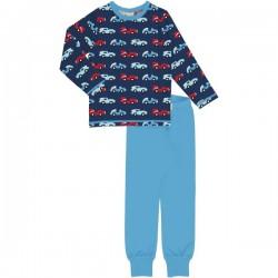 Maxomorra - Bio Kinder Schlafanzug mit Rennauto-Allover