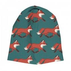 Maxomorra - Bio Kinder Jersey Mütze mit Fuchs-Allover, doppellagig