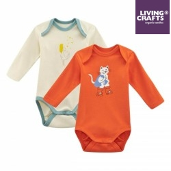LIVING CRAFTS - Bio Baby Bodys langarm Doppelpack mit Märchen-Motiven, rot
