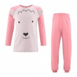 LIVING CRAFTS - Bio Kinder Schlafanzug langarm mit Bärchen-Motiv, rosa