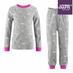 LIVING CRAFTS - Bio Kinder Schlafanzug langarm mit Berge-Motiv, pink