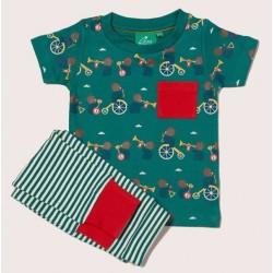 Little Green Radicals - Bio Baby Set Shirt und Hose mit Bären-Allover und Streifen