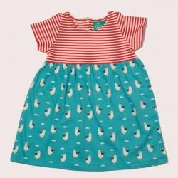 Little Green Radicals - Bio Kinder Jersey Kleid mit Möwen-Allover und Streifen