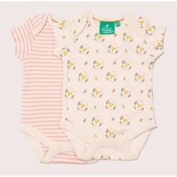 Little Green Radicals - Bio Baby Body Doppelpack mit Blumen-Allover und Streifen