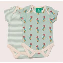 Little Green Radicals - Bio Baby Body Doppelpack mit Buntspecht-Allover und Streifen