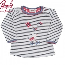 People Wear Organic - Bio Baby Langarmshirt mit Vogel-Applikation und Streifen