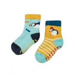 frugi - Baby Frottee Stopper Socken Doppelpack mit Haubentaucher-Motiv