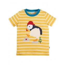 """frugi - Bio Kinder T-Shirt """"Sid"""" mit Papageientaucher-Applikation und Streifen"""
