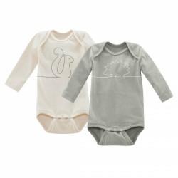LIVING CRAFTS - Bio Baby Bodys langarm Doppelpack mit Igel- und Eichhörnchen-Druck