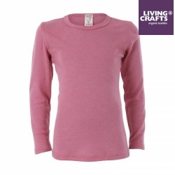 LIVING CRAFTS - Bio Kinder Unterhemd langarm , Wolle/Seide, rosa