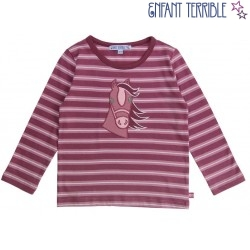 Enfant Terrible - Bio Kinder Langarmshirt mit Pferde-Applikation und Streifen