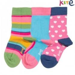 kite kids - Bio Baby Socken 3er Pack mit Herzen/Streifen/Regenbogen-Motiv