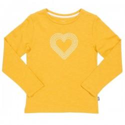 kite kids - Bio Kinder Langarmshirt mit Herz-Druck, gelb
