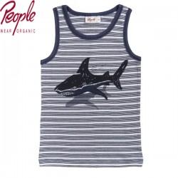 People Wear Organic - Bio Kinder Unterhemd mit Hai-Druck und Streifen