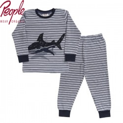 People Wear Organic - Bio Kinder Schlafanzug mit Streifen und Hai-Druck