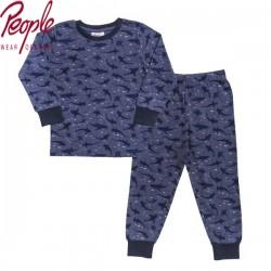 People Wear Organic - Bio Kinder Schlafanzug mit Hai-Allover