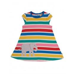 """frugi - Bio Kinder Jersey Kleid """"Gianna """" mit Elefanten-Applikation und Streifen"""