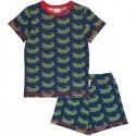 Maxomorra - Bio Kinder Schlafanzug kurzarm mit Krokodil-Allover