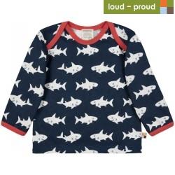 loud + proud - Bio Baby Langarmshirt mit Hai-Allover, marine
