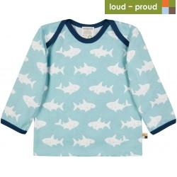 loud + proud - Bio Baby Langarmshirt mit Hai-Allover, lagoon