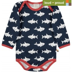 loud + proud - Bio Baby Body langarm mit Hai-Allover, marine