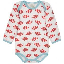loud + proud - Bio Baby Body langarm mit Clownfisch-Allover