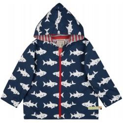 loud + proud - Bio Kinder Jacke mit Hai-Druck, wasserabweisend, marine