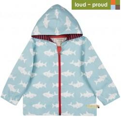 loud + proud - Bio Kinder Jacke mit Hai-Druck, wasserabweisend, lagoon